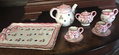 Porcelain Mini Tea Set W/ Pink Bow, Pink Roses & Blue Hearts And Gold Trim