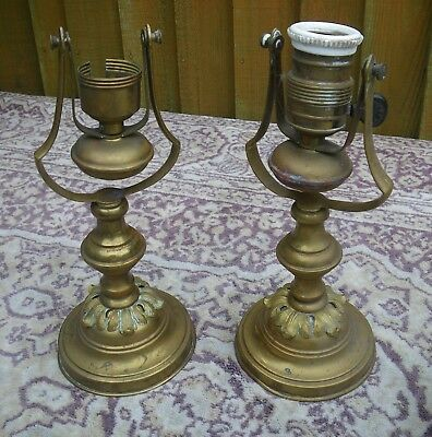 Pair Antique Nautical Ships  Acanthus Leaf Brass Gimbal Cabin Lamp Bases~Lights