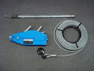 WIRE ROPE HOISTS/WINCH c/w 20MTRS OF WIRE ROPE AND HANDLE