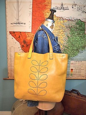 Orla Kiely yellow leather punched stem tote shoulder Great School Diaper