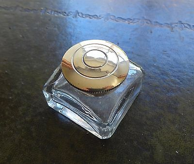 An antique style ink bottle, inkwell for writing slopes & lapdesks. 45mm sq.