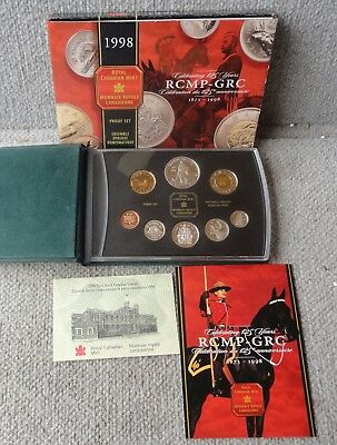 1998 ROYAL CANADIAN MINT PROOF 8 COIN SET 5 are STERLING SILVER – COA, CASE &Box