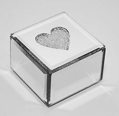 Mirrored Crystals Heart Trinket Jewelary Gift Box with diamante Lid Present Set