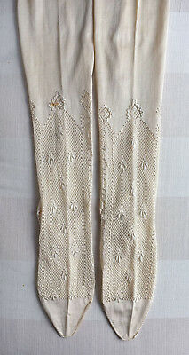 Pair antique/vintage French embroidered silk stockings - Fleur de Lys