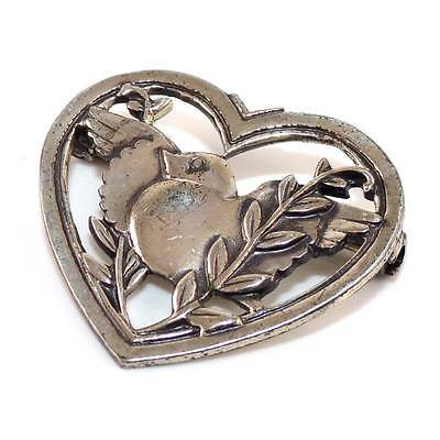 Vintage Coro Sterling Silver Dove Bird Leaf Heart Pin Brooch  LDG9