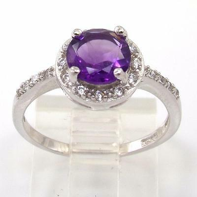 Sterling Silver Round Cut Purple Amethyst CZ Stones Halo Accent Ring Sz 7 LDG21
