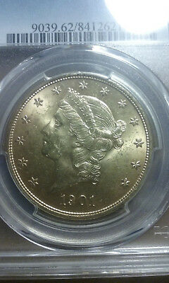 1901 $20 Liberty Head Double Eagle Gold Coin PCGS MS 62