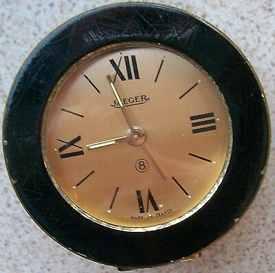 Jaeger LeCoultre 8 day's alarm desk clock 74 mm. in diameter running condition