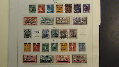 Memel stamp collection on Scott Int'l pages w/ 59 stamps