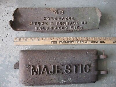 Vintage/Antique MAJESTIC Furnace Door and KALAMAZOO 48 Stove Plate Industrial