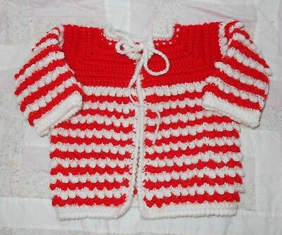 VINTAGE Hand Knit Sweater for Baby or Reborn Dolls Red & White Size 6/9 Months