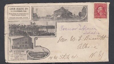 Usa 1909 Couer D'alene Inn Hotel Advertising Cover Couer D'alene Idaho To Ny