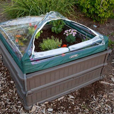 Lifetime 4' x 4' Raised Garden Bed, 2pk with 1 Tent, Brown W