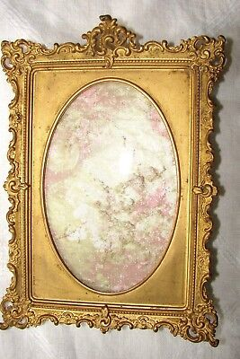 """Antique Pat. 1897 Beautiful Ornate Brass Picture Frame Oval Center 5"""" X 3 1/4"""""""