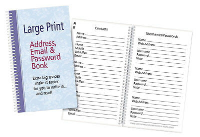 Large Print Address, Email & Password Book