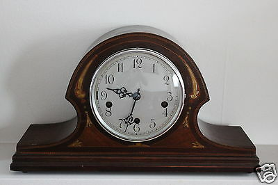 Antique German Inlaid Mantle Clock Brit.Pat.5854 Times Money 8598 Works Perfect