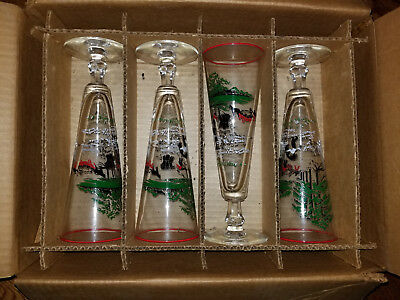 Set of 8 Libbey Currier & Ives Pitsner Glasses MIB