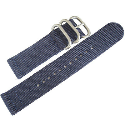 22mm deBeer Blue Ballistic Nylon UTC Military Dive Two-Piece Watch Band Strap