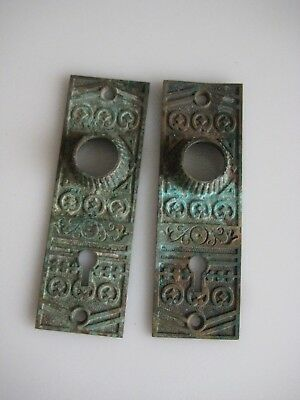 Pair Victorian Eastlake ornate Door Knob escutcheons plates Hardware Antique vtg