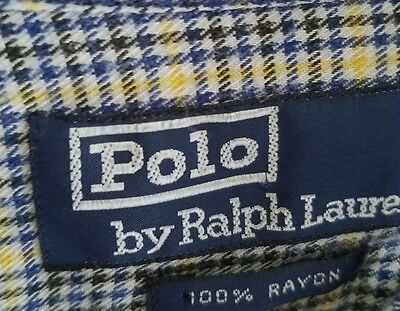 Mens Polo Ralph Lauren Button Front Long Sleeve Rayon Check Size L Casual Shirt
