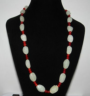 "0.9"" China Certifed Nature Nephrite Hetian Jade White Pearls 18 Arhat Necklace"