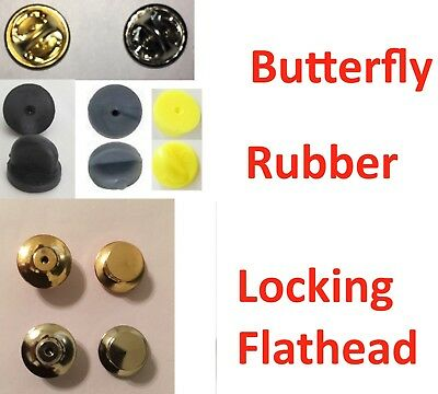 10-150 Butterfly / Rubber / Locking Lapel Pin Back Clutch Clasp Fastener