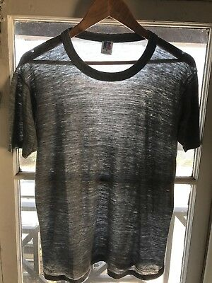 1980s VINTAGE GRAY T-SHIRT Soft Paper Thin L Blank Plain 50/50 Russell M S 1970s