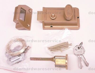 ILCO 220-53-41 NIGHT LATCH SURFACE MOUNTED LATCH LOCK with Rim Lock Cylinder