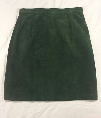 VTG 90s Jay Jacobs by Winlit Sz 3 Womens Green Suede Lined Pencil Skirt XS
