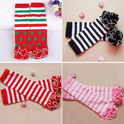 Child Toddle Girl Baby Ruffle Solid Color Striped Leg Warmer Xmas Gift Witty