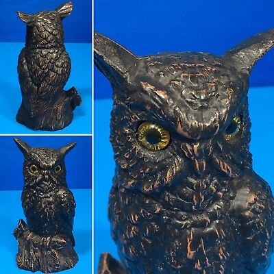 """Vintage Antique Cast Metal Owl Figurine Yellow Eyes 5.5""""in. ~RARE"""