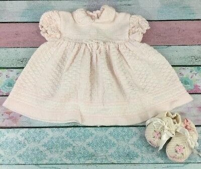 Vintage Pink Sweater Dress And Booties Size 3-6 Months Baby Girl Vtg Clothing