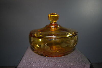 Amber Glass Etched Flower Powder Jar Box with Lid