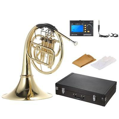 B/Bb Flat 3 Key French Horn Brass Gold Lacquer Single Row with Case Tuner H6G3