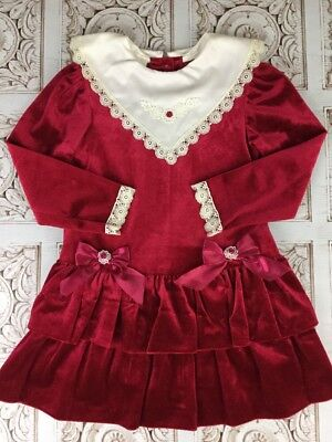 Vintage Red Velvet Velour Christmas Holiday Dress  Lace Trim Miss Victoria Size6
