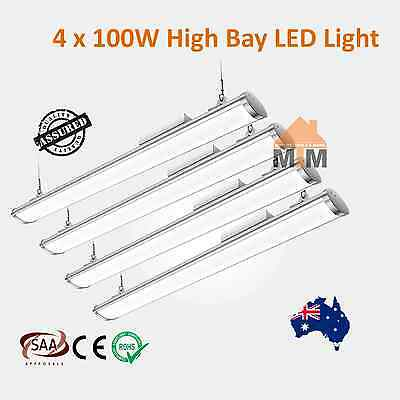 4xT100W LED Fluorescent Light Shop Warehouse Factory Commercial High Bay 100W