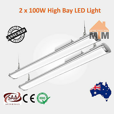 2xT100W LED Fluorescent Light Shop Warehouse Factory Commercial High Bay 100W