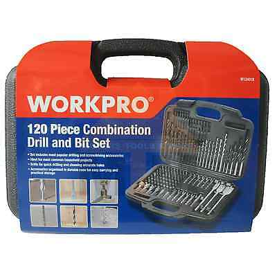 WorkPro 120PC Combination Drill and Bit Set Screwdriver Bit Imperial Set