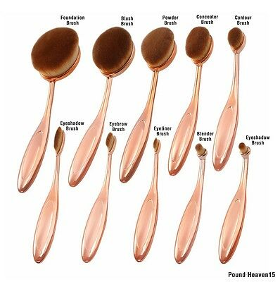 Pro Oval Rose Gold Make Up Brushes Toothbrush Kabuki Powder Contour Foundation