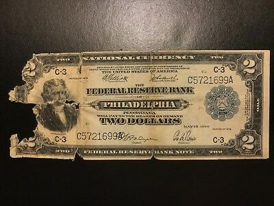 1918 $2 Two Dollar Federal Reserve Bank Note Large Size FR.756 Fine