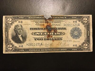 1918 $2 Two Dollar Federal Reserve Bank Note Large Size FR.771 Fine