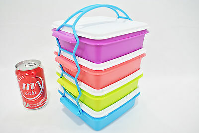 small stackable lunch box 4 levels + cariolier bento sandwich Tupperware