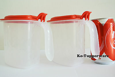 1 set Salt N Spice container (2) red preparation 500ml pantry Tupperware