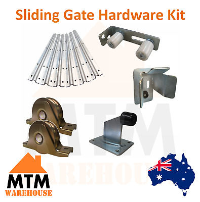 Sliding Gate Slide Hardware Kit Roller Wheel Track Catch Stop Parts Accessories