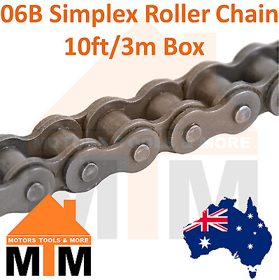 "INDUSTRIAL ROLLER CHAIN 06B-1 - 3/8"" PITCH SIMPLEX 10Ft 3m Box 06B"