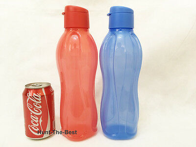 x2 H2O On The Go Eco Water Drink Bottle Sport Flip Top Cap 1.0L Tupperware