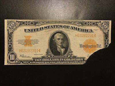 1922 $10 Ten Dollar Gold Certificate Note Large Size FR.1173 Very Fine VF