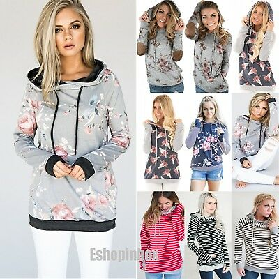 Plus Size Women's Floral Hoodie Pullover Sweatshirt Sweater Jumper Casual Tops