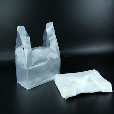 100Pcs Carry Out Retail Supermarket Grocery White Plastic Shopping Bag 28.5x18cm