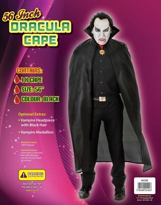 """Adults 56"""" Long Count Dracula Cape Black with Stand Up Collar Halloween Professo"""